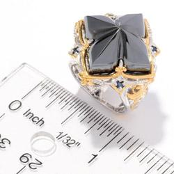 Michael Valitutti Two-tone Hematite and Blue Sapphire Ring - Thumbnail 2