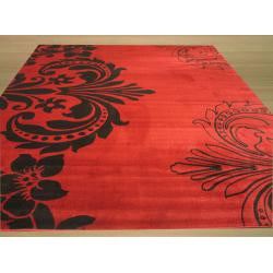 Red Contemporary Abstract Sofia Rug (7'10 x 9'10)