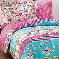 Dream Factory Peace and Love Printed Full 7-piece Bed in a Bag with Sheet Set