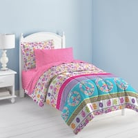 Dream Factory Peace and Love Printed Twin 5-piece Bed in a Bag Set
