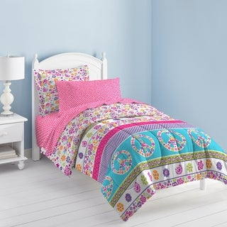 Dream Factory Peace and Love Printed Twin-Size 5-piece Bed in a Bag Set