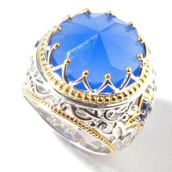 Michael Valitutti Gold-over-silver Two-tone Blue Chalcedony and Blue Sapphire Ring