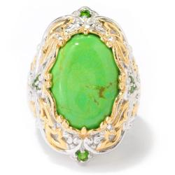 Michael Valitutti Two-tone Green Turquoise and Chrome Diopside Ring