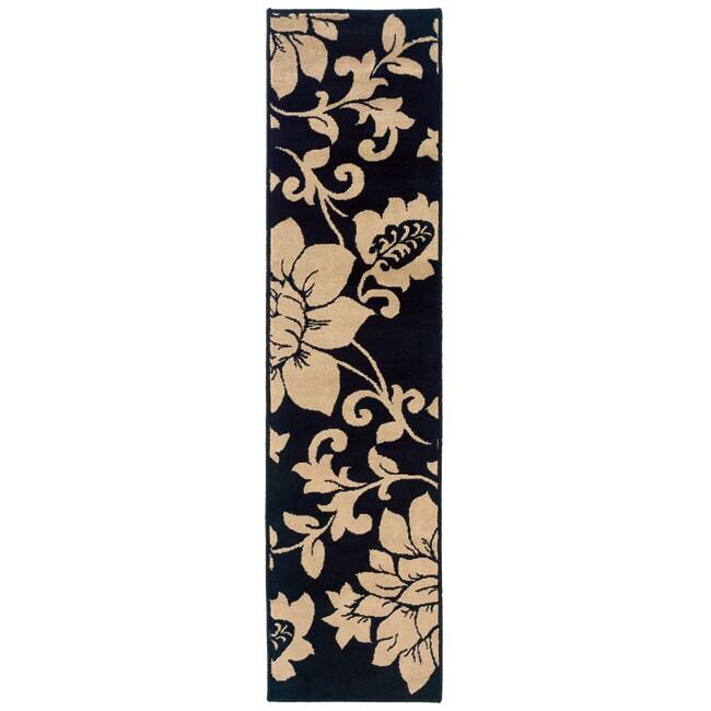 Black and Ivory Rug (1'10 x 7'3)