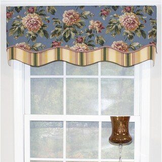"RLF Home Floral Antebellum Glory 50"" Window Valance - Chambray"