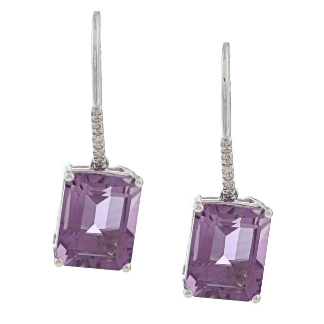 Viducci 10k White Gold Amethyst and Diamond Accent Earrings (G-H, I1-I2)