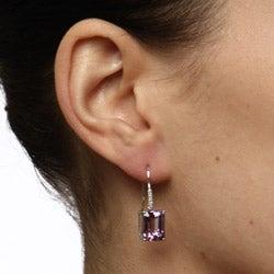 Viducci 10k White Gold Amethyst and Diamond Accent Earrings (G-H, I1-I2) - Thumbnail 2