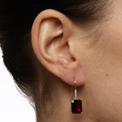 Viducci 10k White Gold Garnet and Diamond Accent Earrings (G-H, I1-I2) - Thumbnail 2