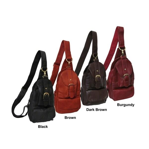 0008c61182bd Shop Amerileather Grylls Petite Cowhide Leather Multi-pocket Sling ...