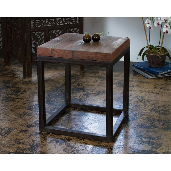 Handmade Weathered Reclaimed Wood and Iron End Table (India)