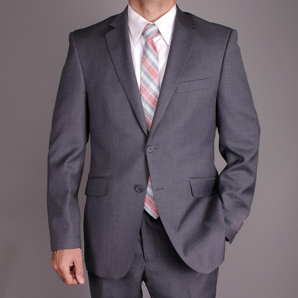 Men's Charcoal Gray Wool Slim-fit 2-button Suit