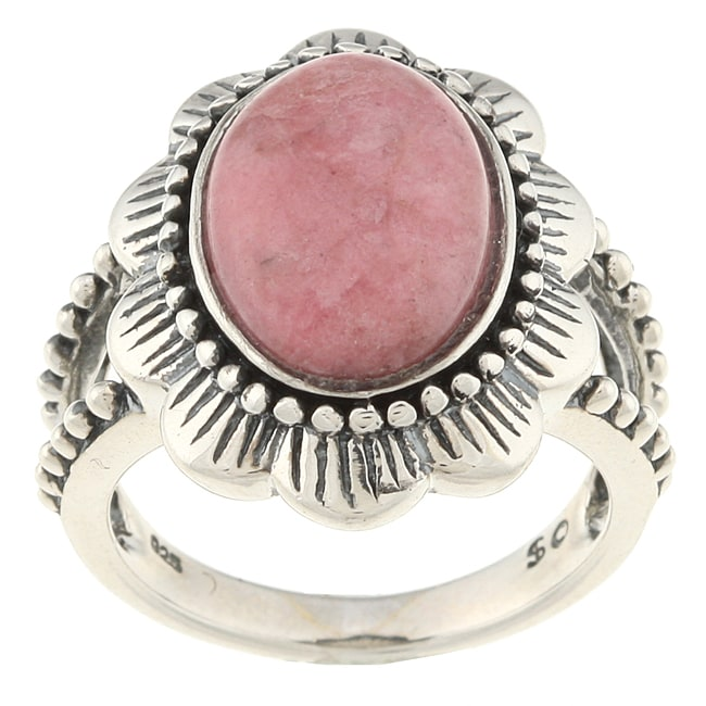Southwest Moon Sterling Silver Rhodonite Flower Ring