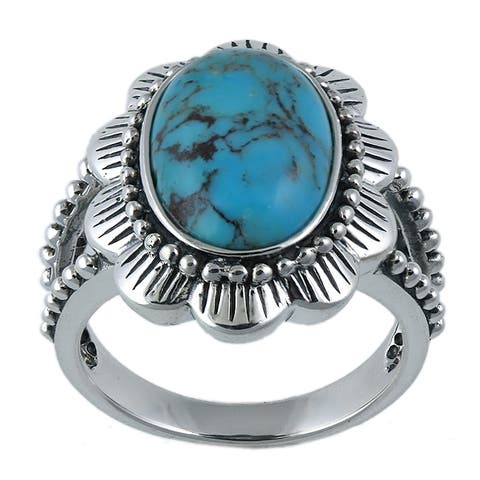 Southwest Moon Sterling Silver Turquoise Flower Ring