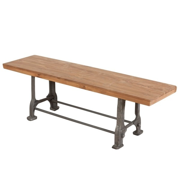 Reclaimed Teak Wood and Steel Bench (India)