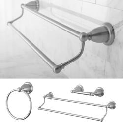 heritage satin nickel 3piece double towel bar set