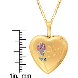 Gold over Silver Heart-shaped 'Mom' Rose Locket - Thumbnail 2