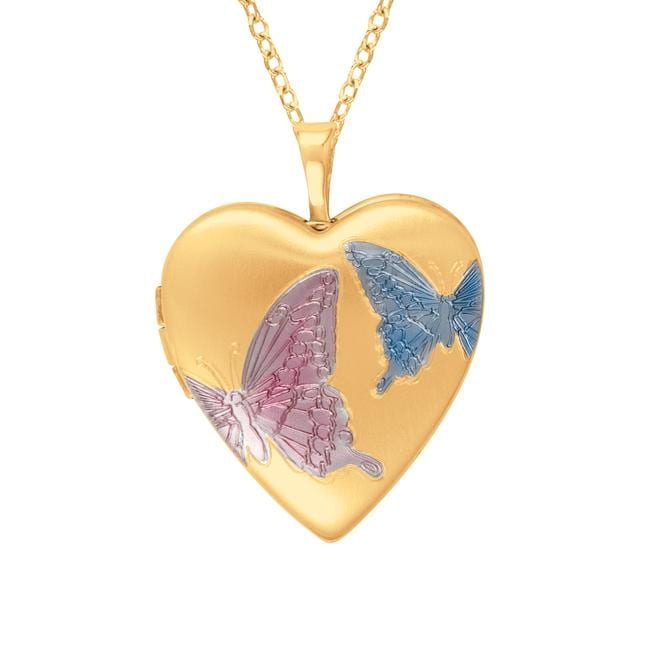 Gold over Silver Heart-shaped Butterfly Locket, Women's, ...