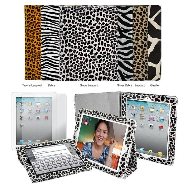 Apple iPad 2 Animal Print Folding Stand Case with Screen Protector