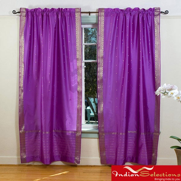 Lavender 84-inch Rod Pocket Sheer Sari Curtain Panel Pair  , Handmade in India