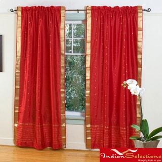 Handmade Fire Brick Red 84 Inch Rod Pocket Sheer Sari