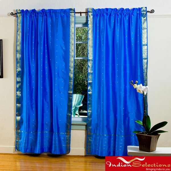 Blue 84-inch Rod Pocket Sheer Sari Curtain Panel Pair (India)