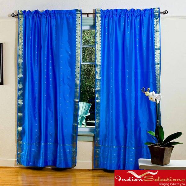 Handmade Blue 84-inch Rod Pocket Sheer Sari Curtain Panel Pair (India)