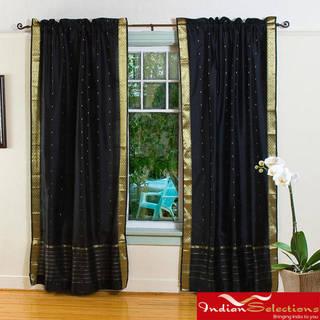 Handmade Black 84-inch Rod Pocket Sheer Sari Curtain Panel Pair (India)