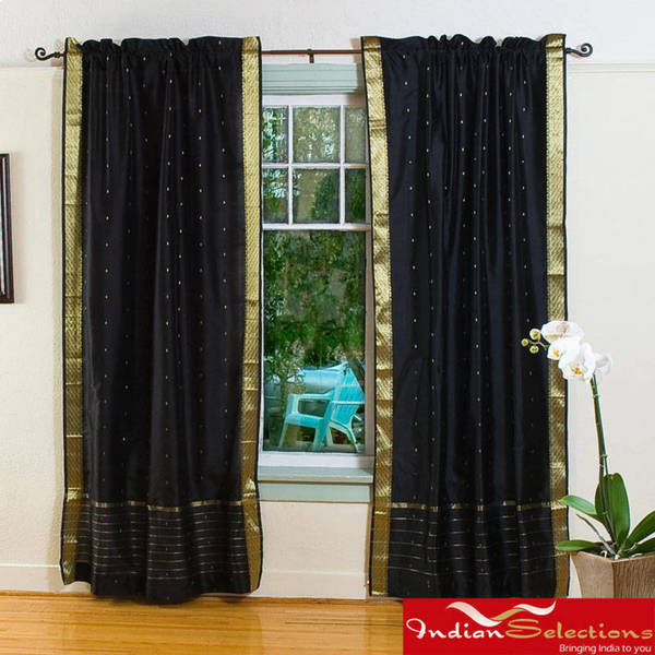 Handmade Black 84-inch Rod Pocket Sheer Sari Curtain Panel Pair (India)