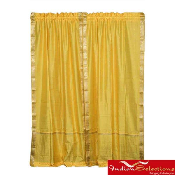 Handmade Yellow 84-inch Rod Pocket Sheer Sari Curtain Panel Pair (India)