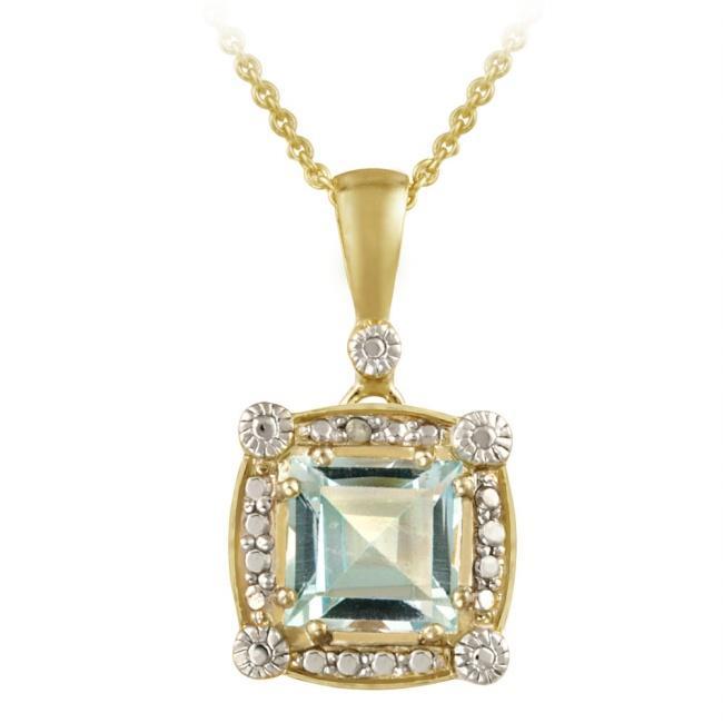 Glitzy Rocks 18k Gold over Silver Blue Topaz and Diamond Necklace