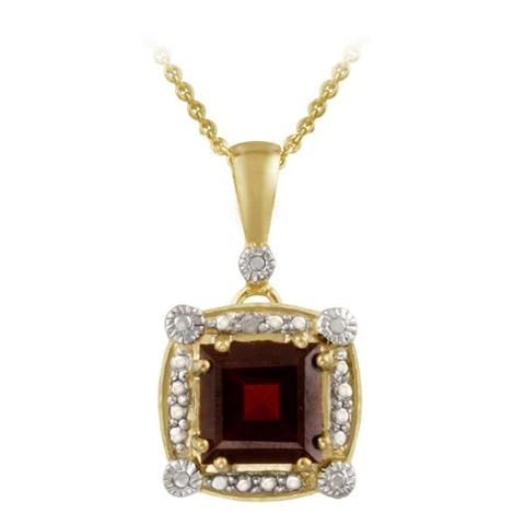 Glitzy Rocks 18k Gold over Silver Garnet and Diamond Accent Necklace
