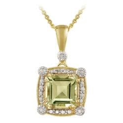 Glitzy Rocks 18k Gold over Silver Green Amethyst and Diamond Necklace
