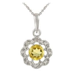 Glitzy Rocks Sterling Silver Citrine and Diamond Accent Flower Necklace