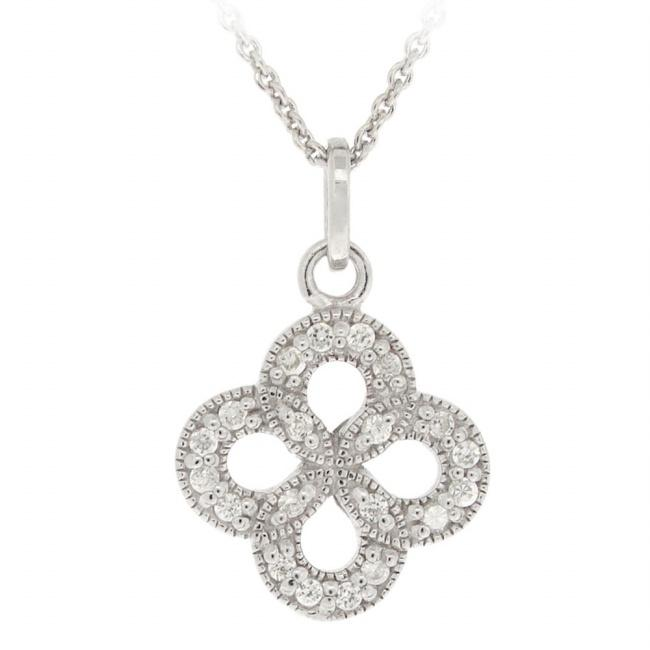 Icz Stonez Sterling Silver Cubic Zirconia Flower Necklace