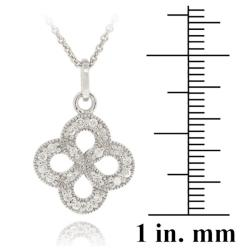Icz Stonez Sterling Silver Cubic Zirconia Flower Necklace - Thumbnail 2