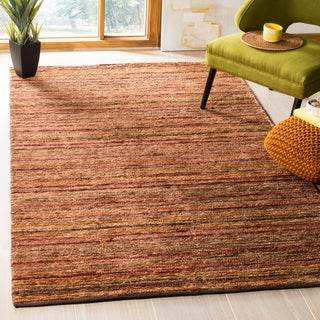 Safavieh Hand-knotted All-Natural Striped Red/ Multi Rug - 9' x 12'