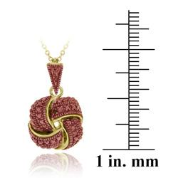 DB Designs 18k Gold over Silver Champagne Diamond Love Knot Necklace - Thumbnail 2