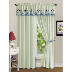 Embroidered Leaves 5-piece Blue Curtain Panel Set