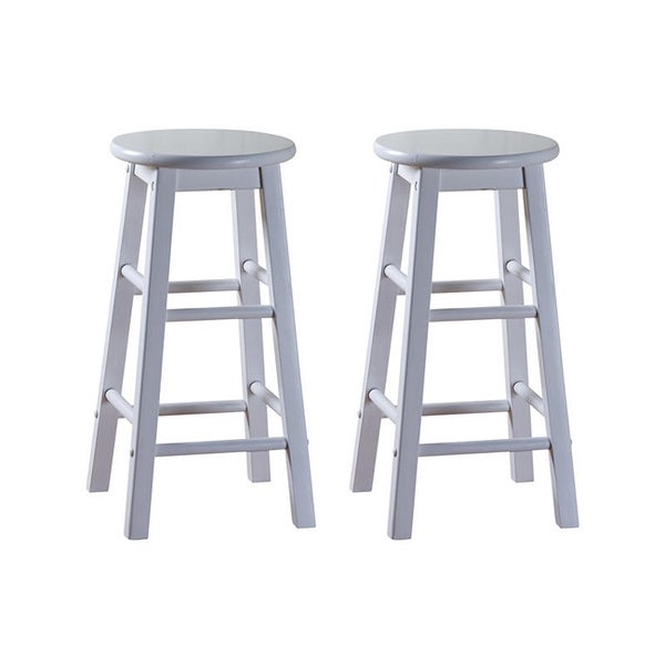 Abott White 24-inch Counter Height Stools (Set of 2)
