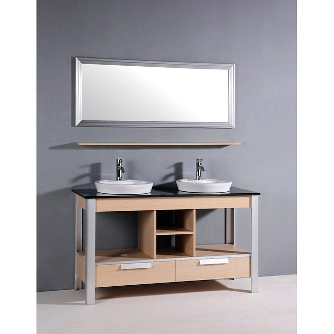 Black glass top 55 5 inch double sink bathroom vanity free shipping today for 55 inch double sink bathroom vanity