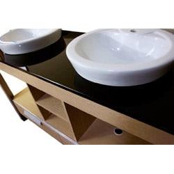 Black Glass Top 55.5-inch Double Sink Bathroom Vanity