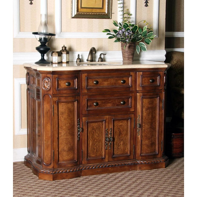 48 inch bathroom vanities - Cream Marble Top 48 Inch Single Sink Bathroom Vanity In Walnut Finish