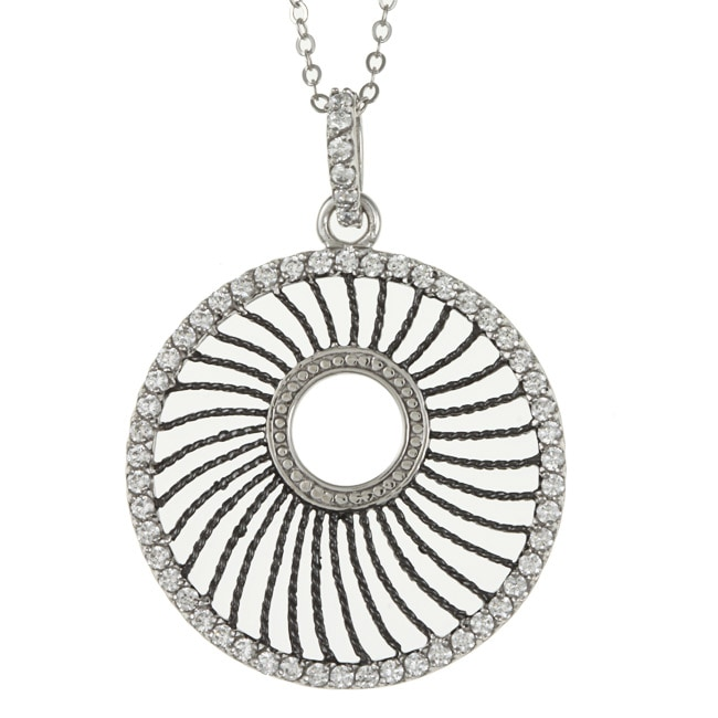 La Preciosa Sterling Silver Cubic Zirconia Circle Necklace