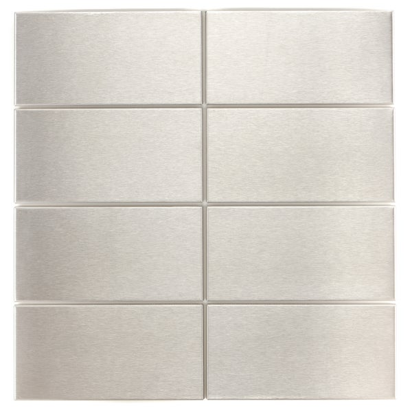 Brushed Silver 3x6-inch Metal Wall Tiles K-446 (Case of 88) - Free ...