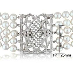 Miadora 14k Gold Akoya Pearl and 1 1/5ct TDW Diamond Necklace (G-H, I1-I2) (6.5-7 mm)