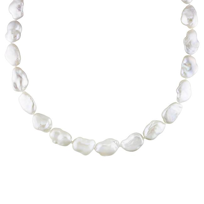 Miadora 14k White Gold Pearl and Diamond Accent Necklace (13-16mm) (G-H, I1-I2)