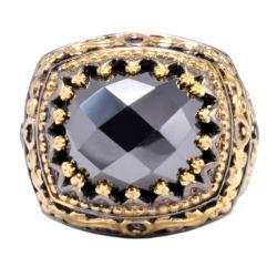 Michael Valitutti Palladium Silver Hematite and Blue Sapphire Ring