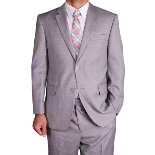 Men's Light Grey Wool 2-button Suit - Free Shipping Today ...