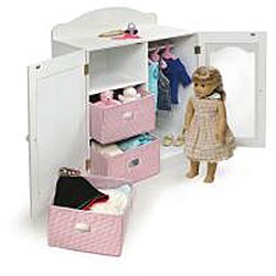 ... Badger Basket Mirrored Doll Armoire Set