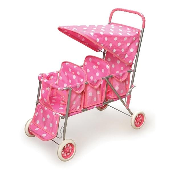 Badger Basket Polka Dots Pink Triple Doll Stroller